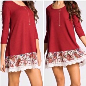 Dresses & Skirts - Burgundy Dress Tunic with Floral Trim Size Small